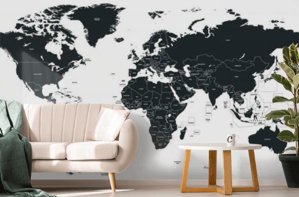 Minimalistyczna, aczkolwiek stylowa tapeta z mapą doskonale się odnajdzie w minimalistycznym wnętrzu
