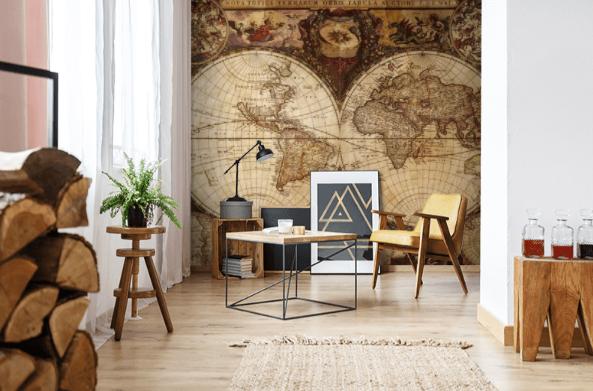 Mapa na ścianie doskonale sprawdzi się nie tylko w gabinecie czy bibliotece
