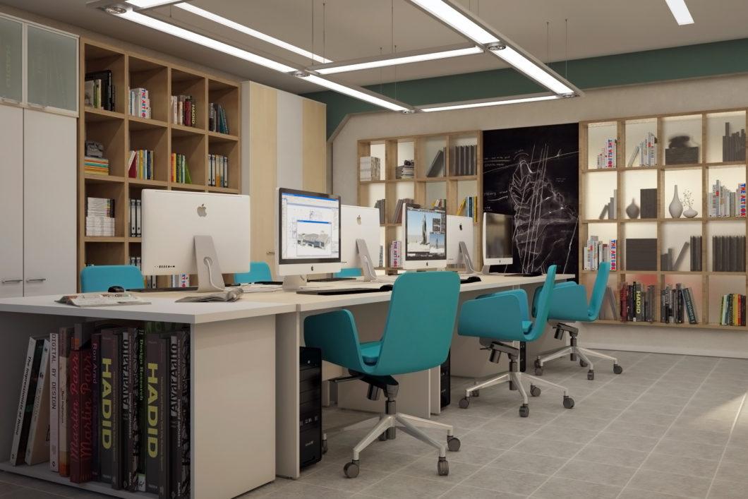 Lakoniczny wystrój i jaskrawe meble - to przepis na współczesne biuro
