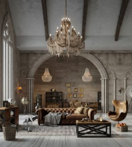 Teatralny styl barokowy doskonale łączy się z artystycznym loftem