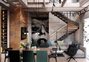 Luksusowe współczesne mieszkanie w obszarze przemysłowym