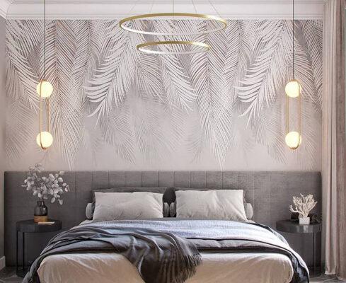 Spokojne przyjemne kolory, rozproszone światło, i ten anielski motyw na tapecie… Nic tylko się zatopić w rozkoszy tej przytulnej sypialni i odpoczywać.