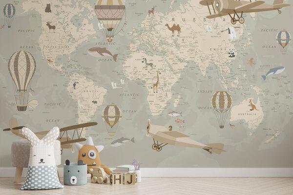 Ogromna mapa na ścianie będzie piękną ozdobą pokoju dziecięcego, a przy okazji wspomoże małego odkrywce w nauce geografii i planowaniu przyszłych wypraw.
