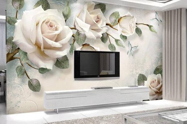Klasyczne róże w szlachetnym jasnym odcieniu dodają uroku każdemu wnętrzu. Meble w białym kolorze podkreślają piękno kwiatów.