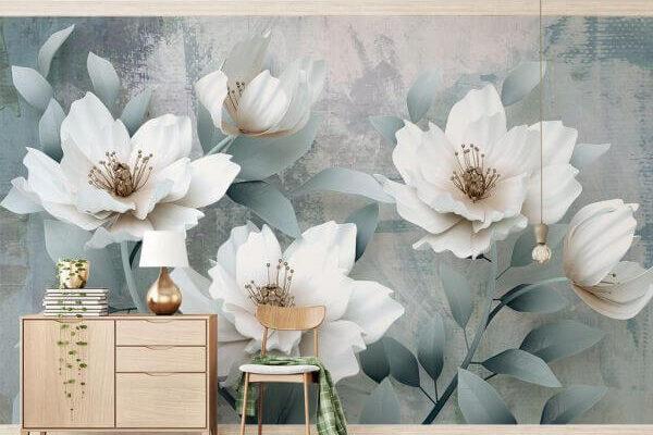 Kwiaty w pastelowych barwach - to nieprzemijająca klasyka. Taką tapetę można umieścić w każdym wnętrzu.