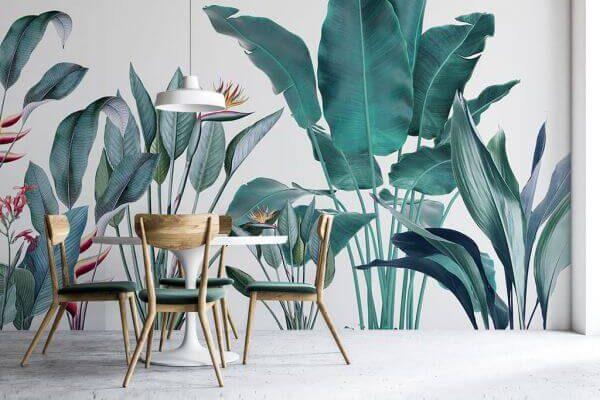 Głęboki zielony kolor i tropikalne rośliny są niezwykle modne w tym sezonie. Dlatego właśnie ta tapeta trafiła do naszego TOP-30.