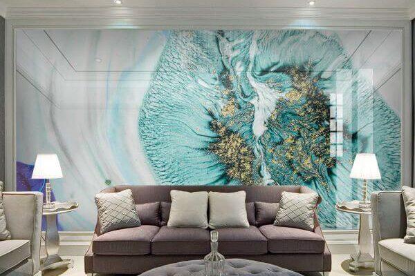 Niezwykle stylowa fototapeta z abstrakcyjnym motywem w odcieniach błękitu i turkusu skradła serca naszych klientów.