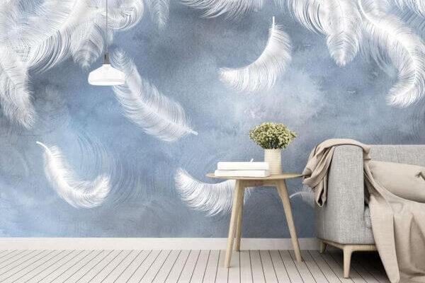 Piórkowy motyw najlepiej sprawdza się w sypialni - dzięki takiej tapecie sny będą beztroskie i przyjemne.