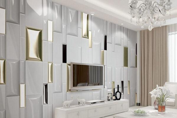 Minimalistyczne wnętrze wymaga minimalistycznych ozdób. Złote akcenty na białej fototapecie wyglądają prosto i stylowo.