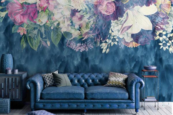 Głęboki niebieski kolor i delikatny kwiatowy motyw pomogą stworzyć doskonałe wnętrze dla spokojnego odpoczynku.