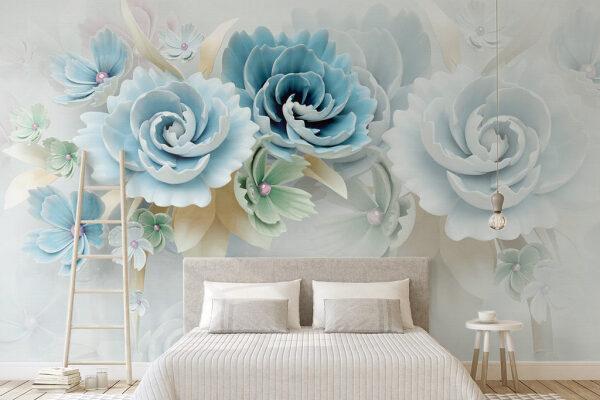 Subtelne piękno kwiatów w odcieniach błękitu stworzy romantyczną atmosferę w sypialni.