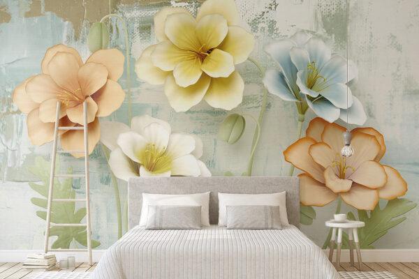 Piękne okazałe kwiaty na trójwymiarowej fototapecie ozdobią zarówno sypialnie, jak i salon czy też pokój dziecięcy.