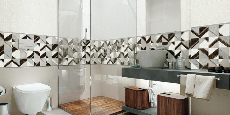 Wąski pas płytek dekoracyjnych odświeży łazienkę, nie przeciążając wnętrza