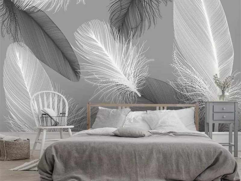 Spokojne kolory i zrównoważone szare tło doskonale nadają się do sypialni