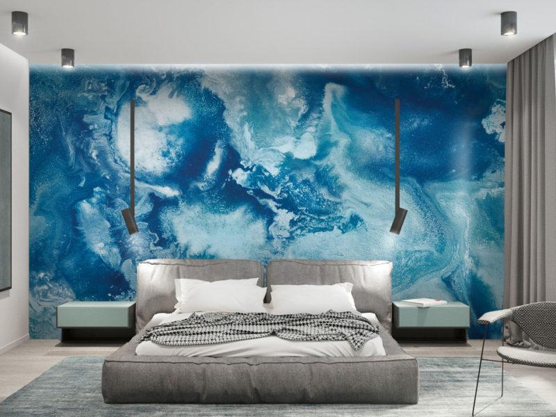 Soczyste odcienie turkusu staną się jaskrawym akcentem w stonowanej sypialni