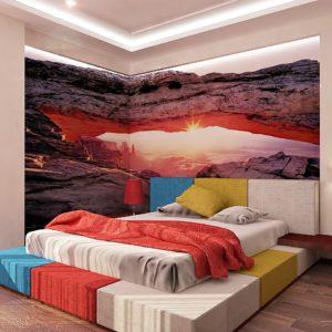 Fototapetę można nakleić na dwie sąsiednie ściany, aby części tapety tworzyły spójny przestrzenny obraz