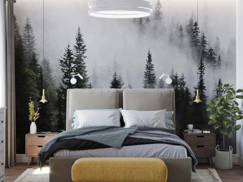 Las we mgle - to jedna z najczęściej wybieranych do sypialni fototapet
