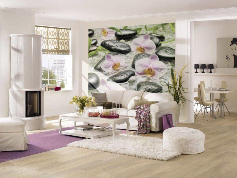 Pokój dla odpoczynku nie potrzebuje dużo akcentów - wystarczy realistyczna fototapeta i dopasowane tekstylia