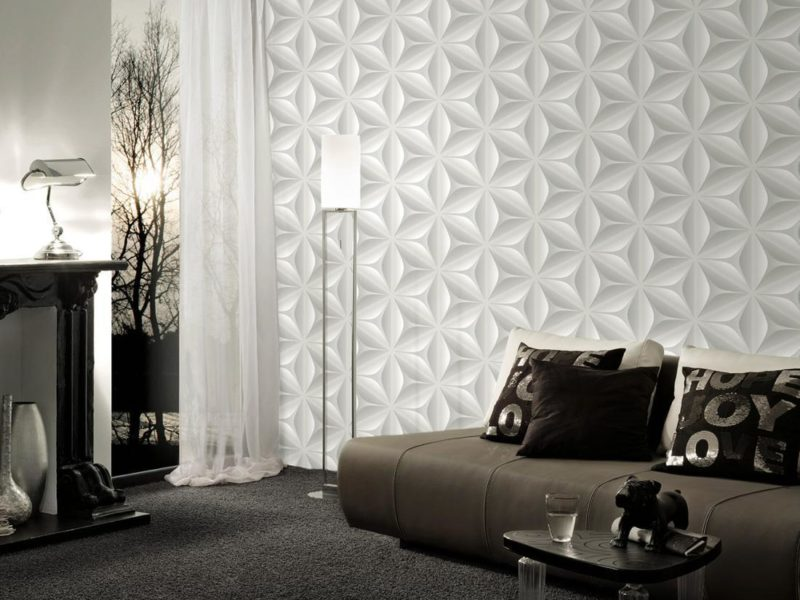 Biała fototapeta z elementami 3D - to gustowny i minimalistyczny sposób na udekorowanie ściany