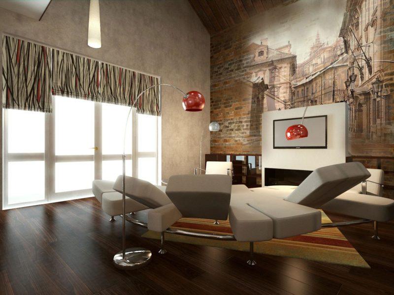 Widok miasta, wyłaniający się z ceglanej ściany, stanie się stylową ozdobą spokojnego wnętrza