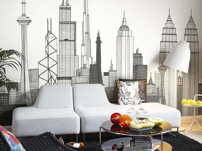 Miasto w rysunkowym stylu na fototapecie doskonale uzupełnia współczesne wnętrze