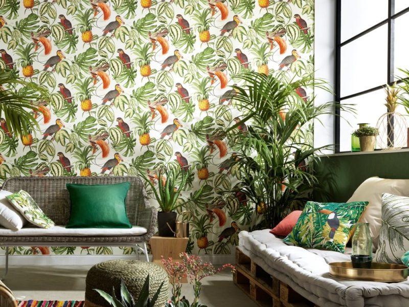 Współczesne mieszkanie - swobodne, naturalne i autentyczne. Tak samo jak ten kolorowy motyw w tropikalnym stylu