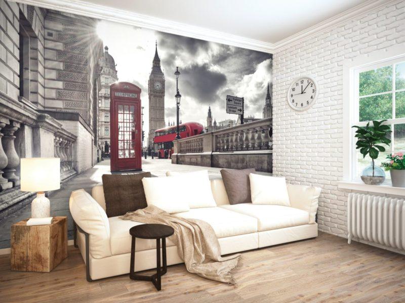 Londyńskie trio - Big Ben, autobus i budka telefoniczna wyglądają stylowo nawet na szarym tle