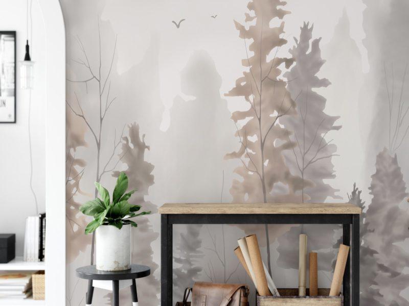 Pastelowe barwy i delikatny akwarelowy efekt doskonale sprawdzą się w aranżacji jasnego, przestronnego gabinetu we współczesnym stylu