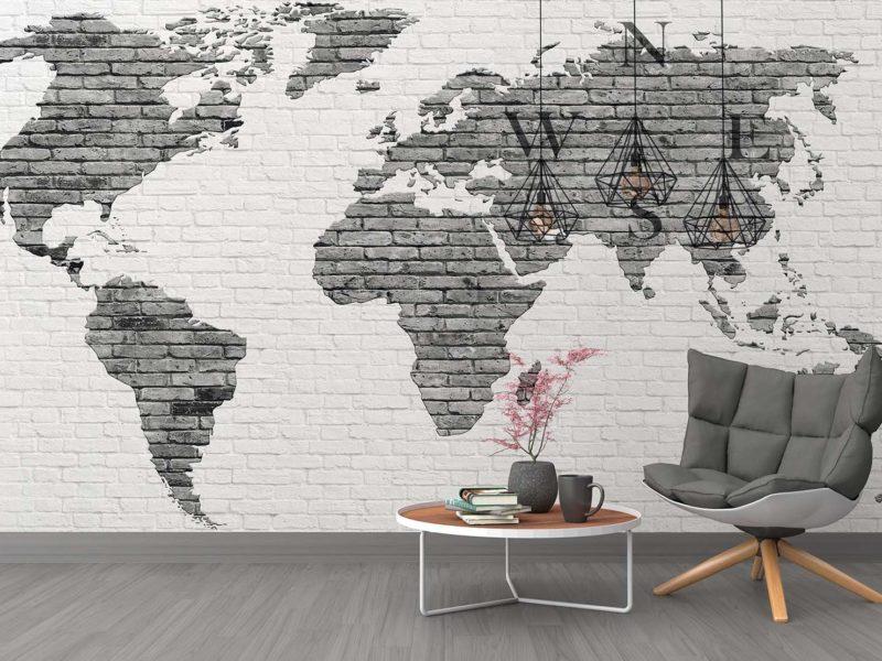 Fototapeta z mapą świata to także doskonały pomysł na neutralną dekorację dla biura