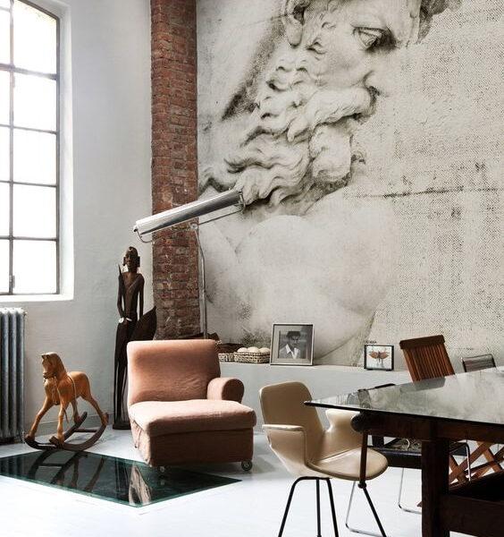 Współczesny gabinet w stylu loft będzie wyglądał jeszcze bardziej wyjątkowo z tą artystyczną fototapetą