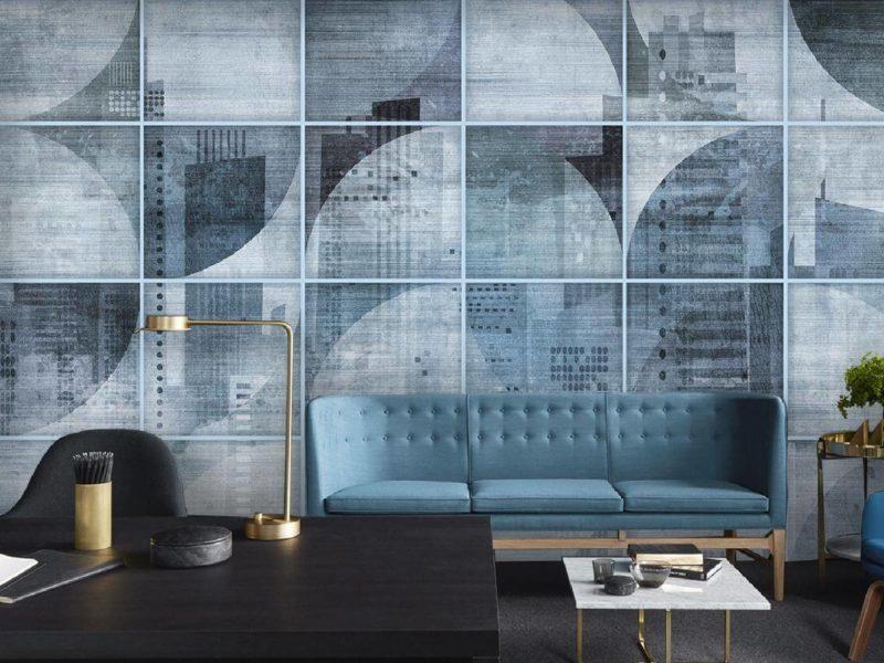Geometryczny motyw w spokojnych, wyrazistych odcieniach wygląda bardzo naturalnie w stylowym wnętrzu nowoczesnego biura