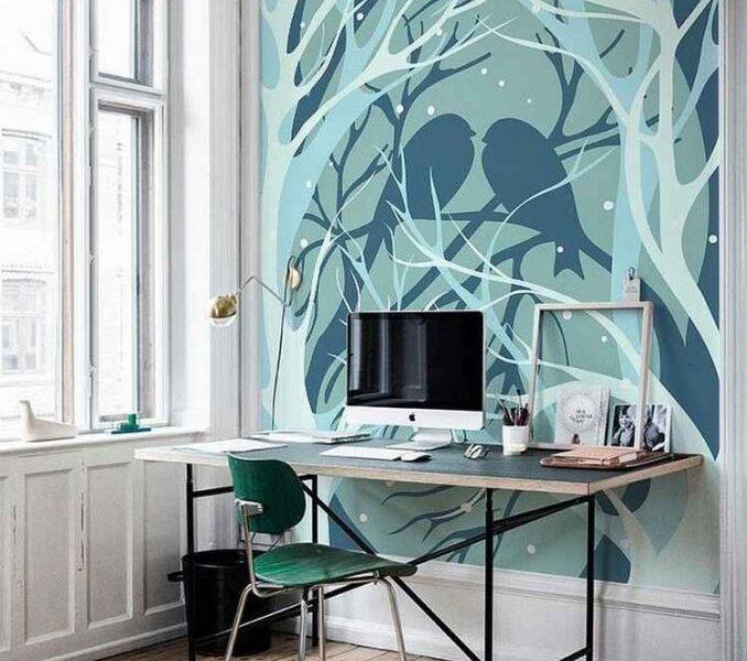 Pastelowe wzory doskonale nadają się do aranżacji przytulnego domowego biura