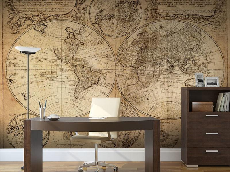 Mapa w spokojnych kolorach podkreśli piękno gabinetu w klasycznym stylu