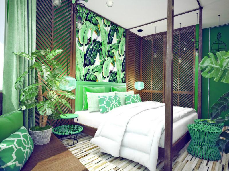 Jeśli fototapeta na jednej ścianie nie wydaje się wystarczająca, zamiast oklejania całego pokoju warto rozważyć pomalowanie sąsiedniej ściany oraz dodanie jaskrawych akcesoriów w kolorze tapety.