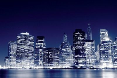 Niższe Manhattan Skyline w nocy, New York City