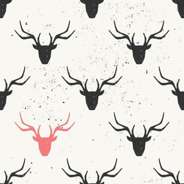 Deer Head Silhouette Seamless Pattern