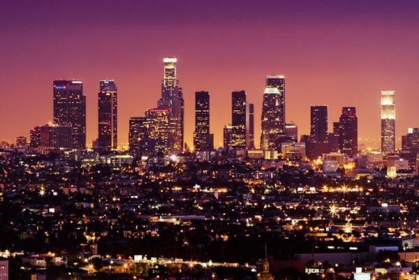 Downtown Los Angeles Skyline w nocy,  california