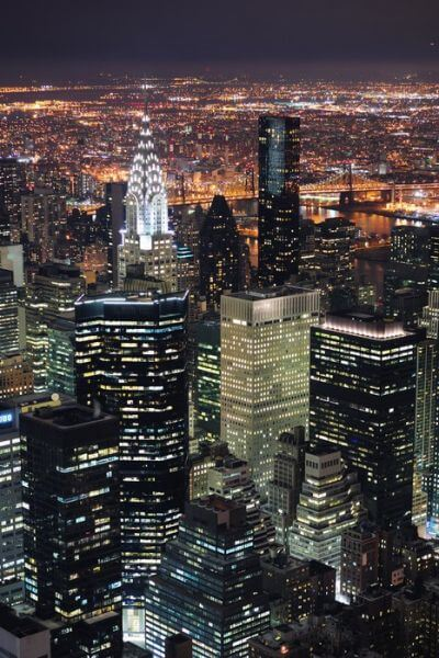 New York City Manhattan skyline lotu ptaka o zmierzchu