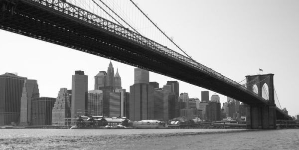 New York City Brooklyn Bridge czarno-biały