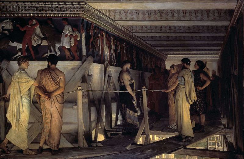 Obraz Lawrence Alma-Tadema, Phidias showing the frieze of the Parthenon to his friends