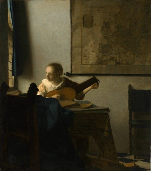 Obraz Jan Vermeer, Reprodukcja Woman with a Lute Near a Window