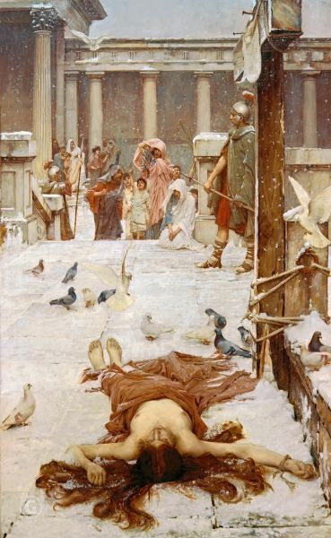 Obraz John William Waterhouse, Reprodukcja The miraculous snow fall as Eulalia is martyred in 313 in Spain