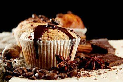 Fototapeta tasty muffin cakes with chocolate, spices and coffee seeds,