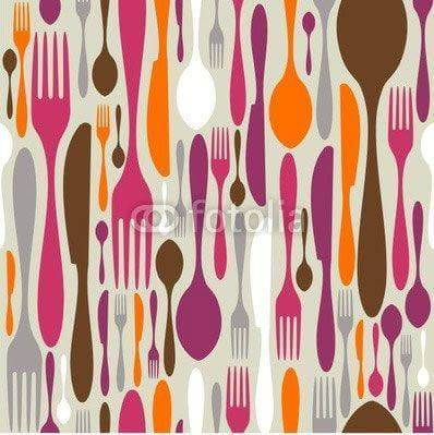 Fototapeta Cutlery silhouette icons pattern background