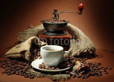 Fototapeta cup of coffee, grinder, turk and coffee beans