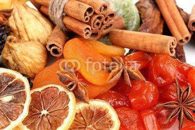 Fototapeta Dried fruits with cinnamon and star anise close-up