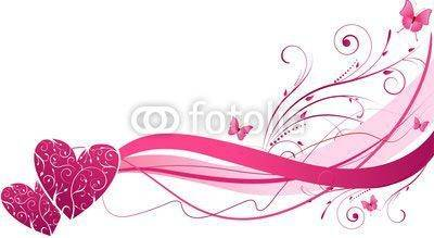 Fototapeta Floral wave with hearts