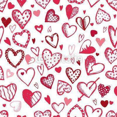 Fototapeta Seamless pattern with valentine hearts, sketch drawing