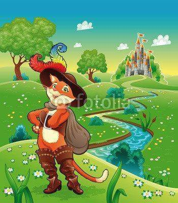 Fototapeta Puss in boots and background. Cartoon vector illustration.