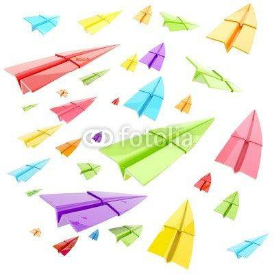 Fototapeta Colorful glossy paper airplanes isolated